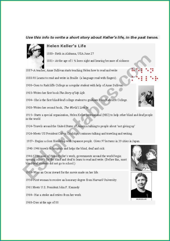Helen Keller 3rd Grade Worksheet