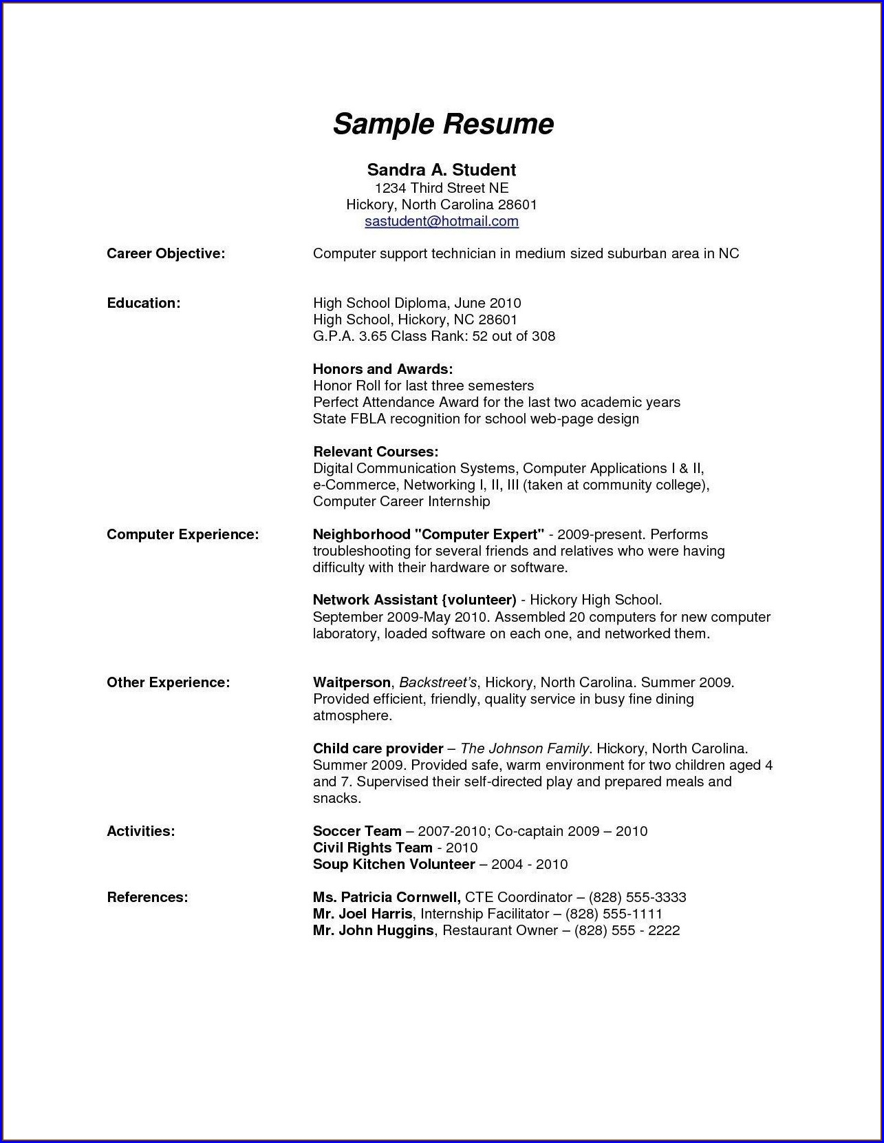 High School Simple Resume Templates