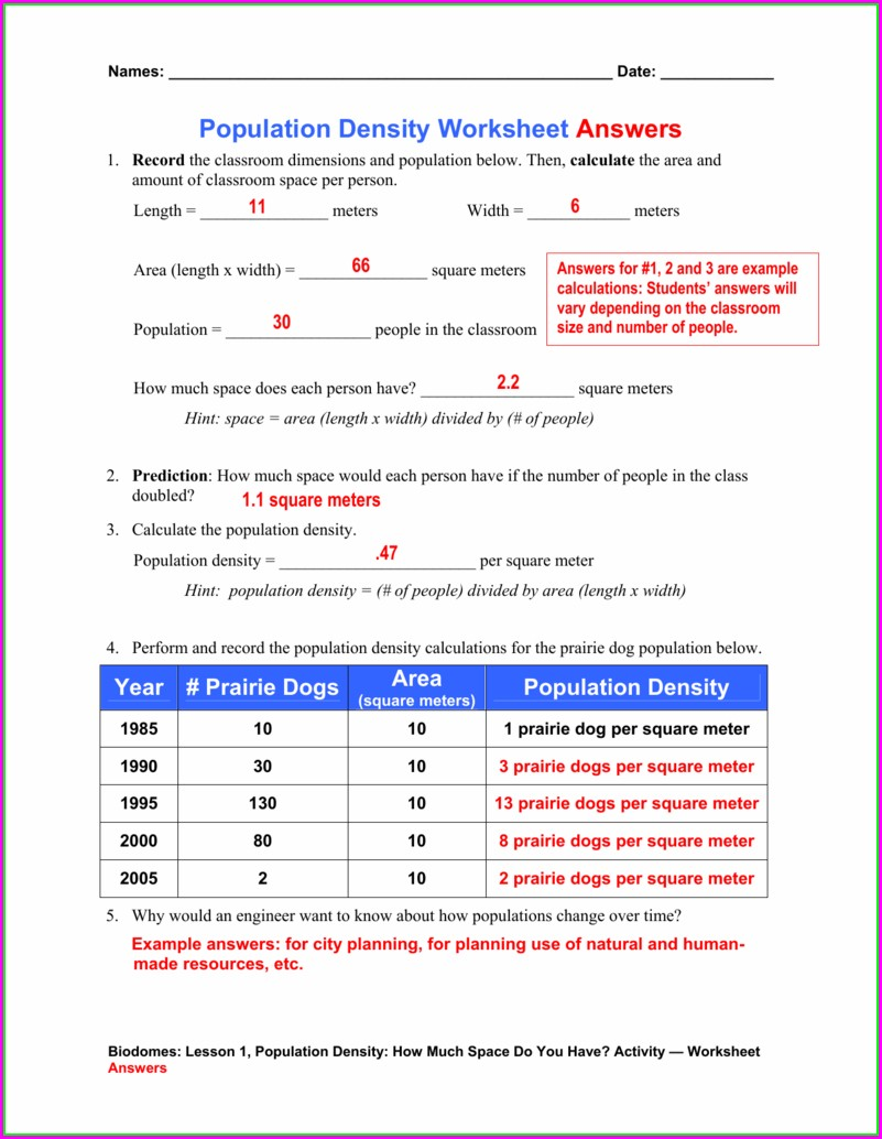 How To Calculate Population Density Worksheet Answers