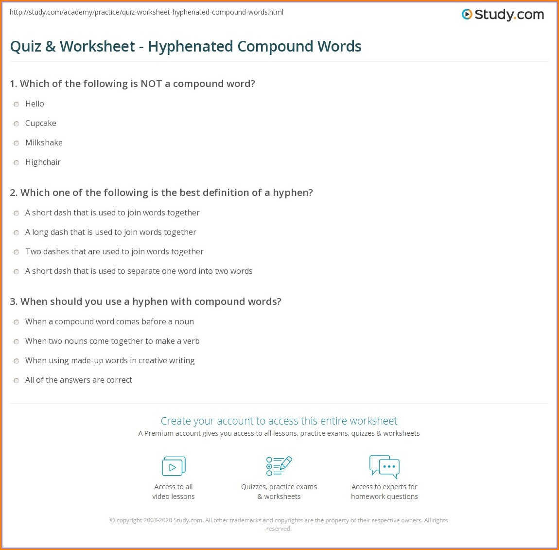 Hyphenated Compound Words Worksheets