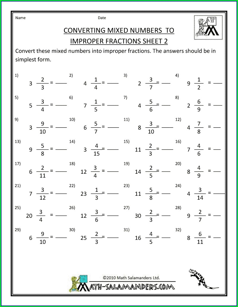 Improper Fraction To Mixed Number Worksheet With Answers
