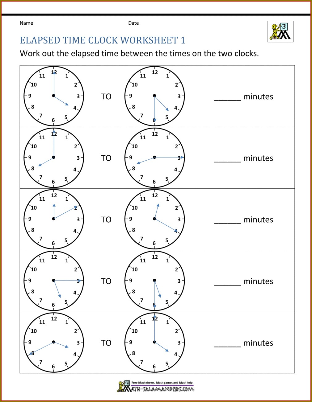 Information Time Math Worksheet