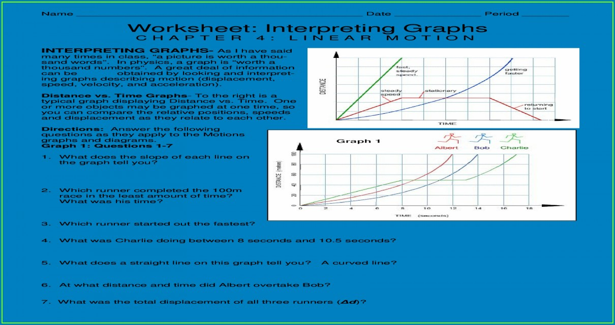 Interpreting Distance Time Graphs Worksheet