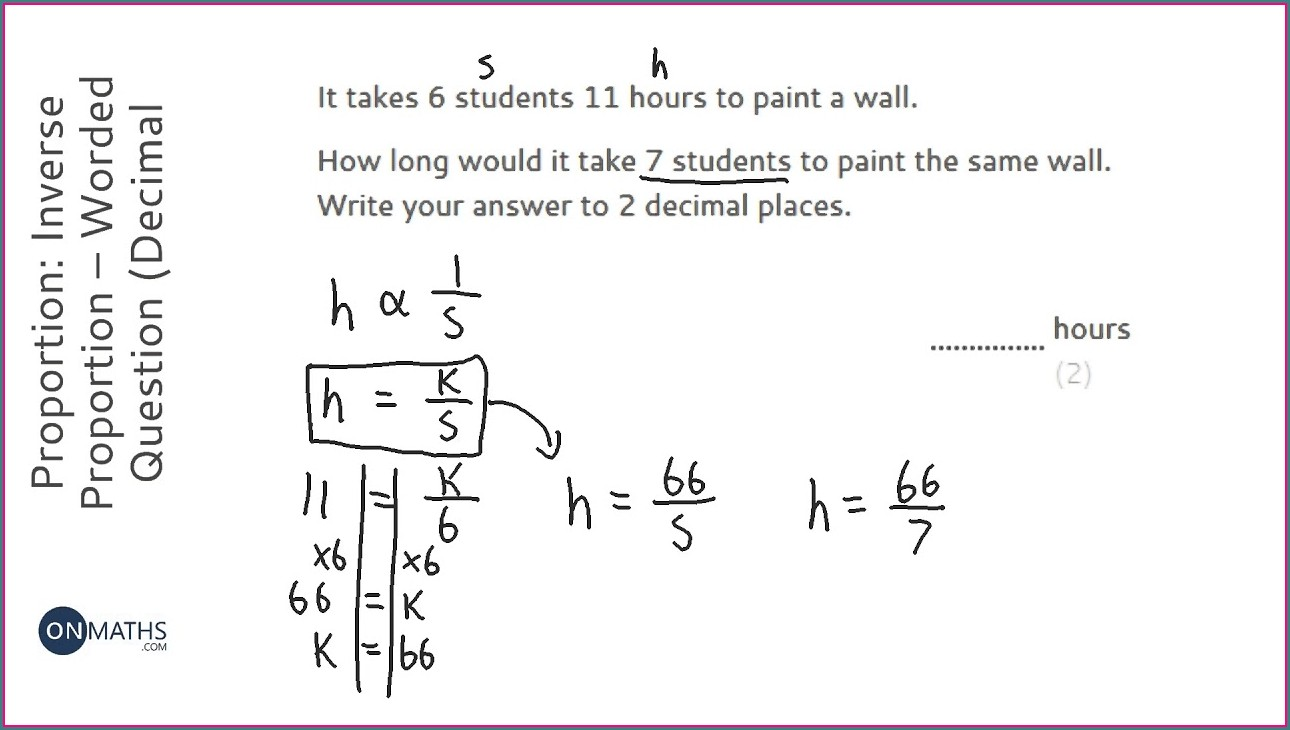 Inverse Proportion Word Problems Worksheet With Answers