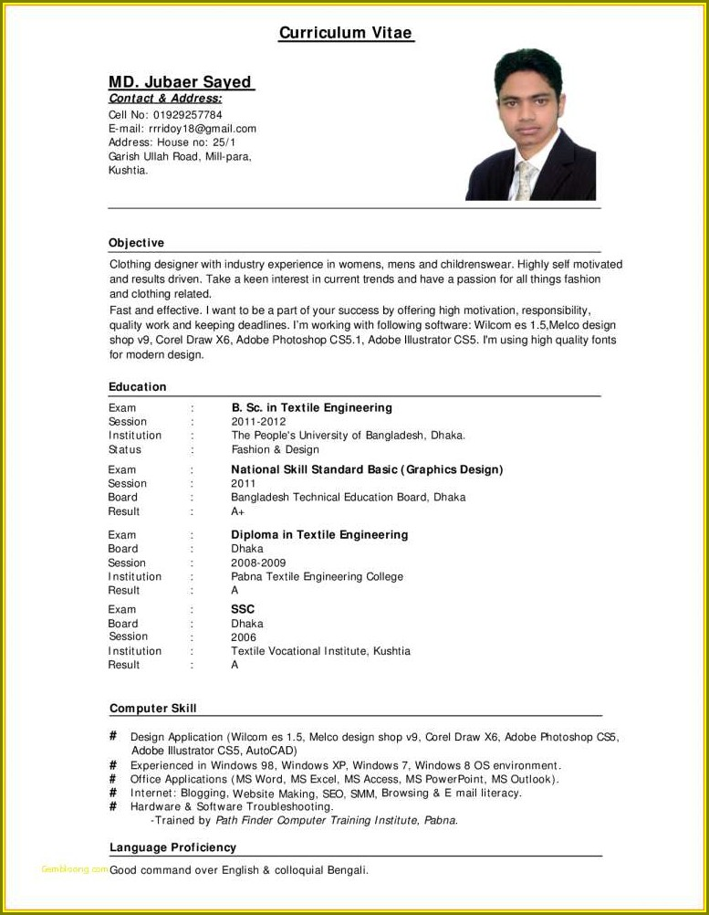 Job Application Blank Resume Format Pdf