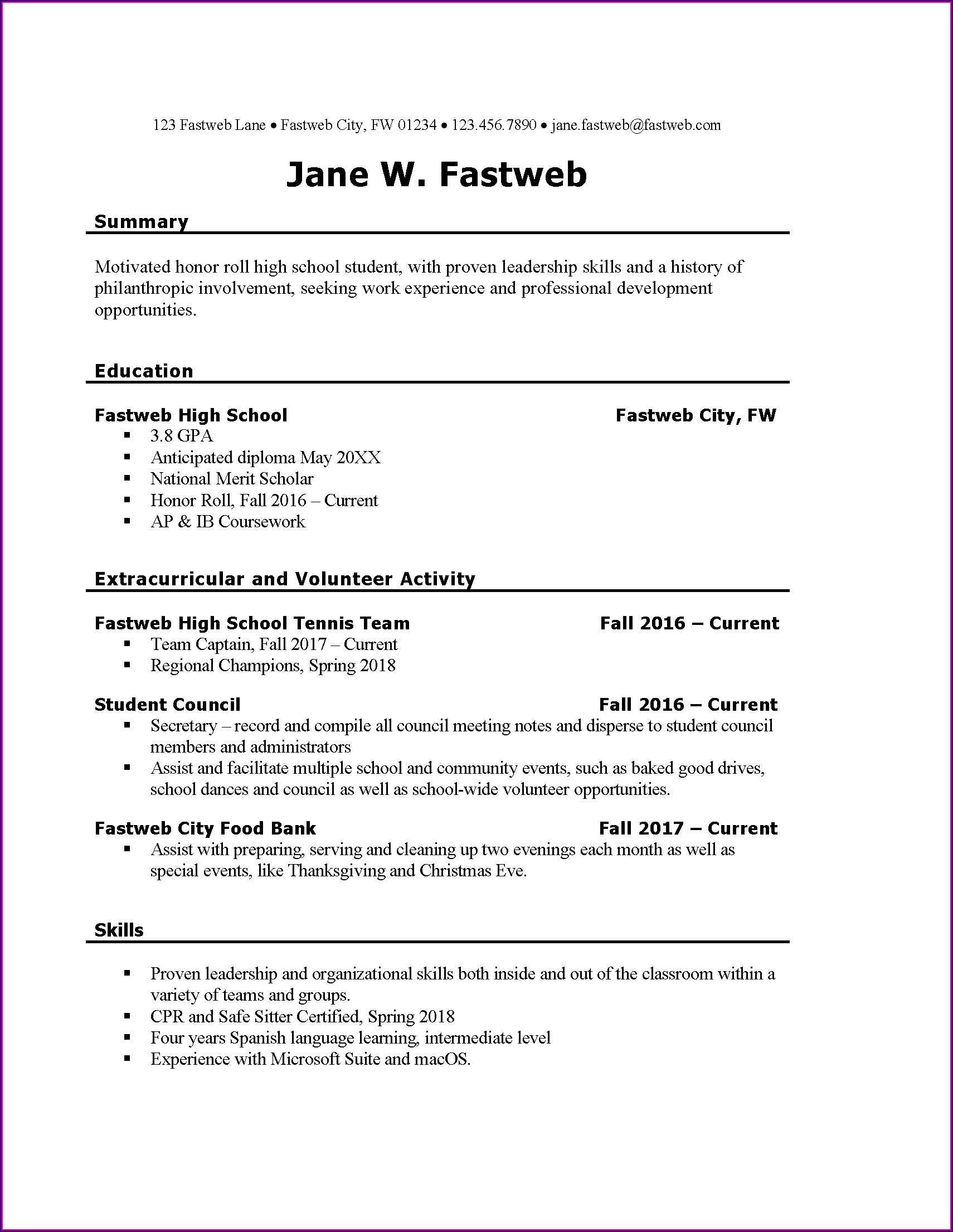 Job Basic Simple Resume Template