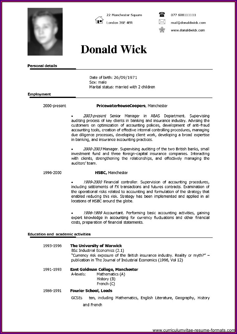 Job Resume Sample In Word Format