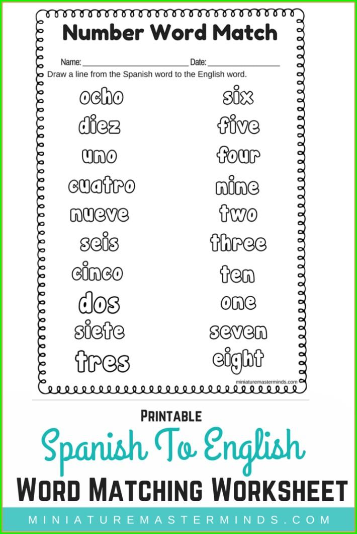 Kindergarten Numbers In Spanish Worksheet