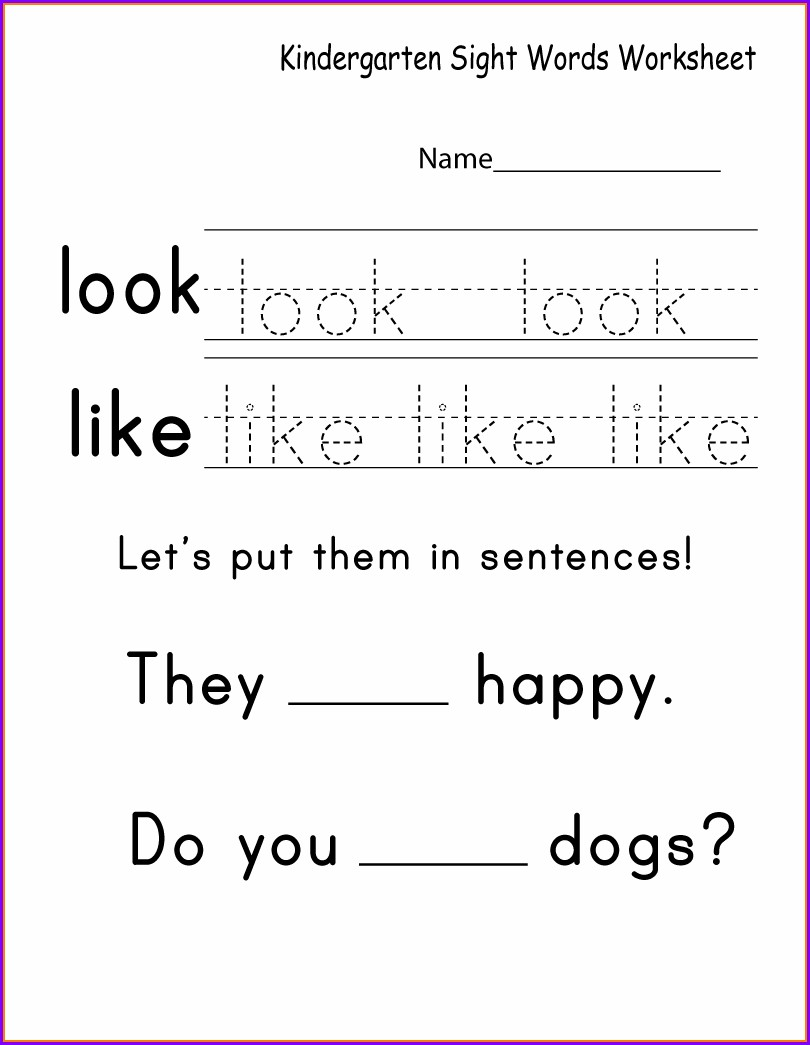 Kindergarten Worksheets Sight Words Printable