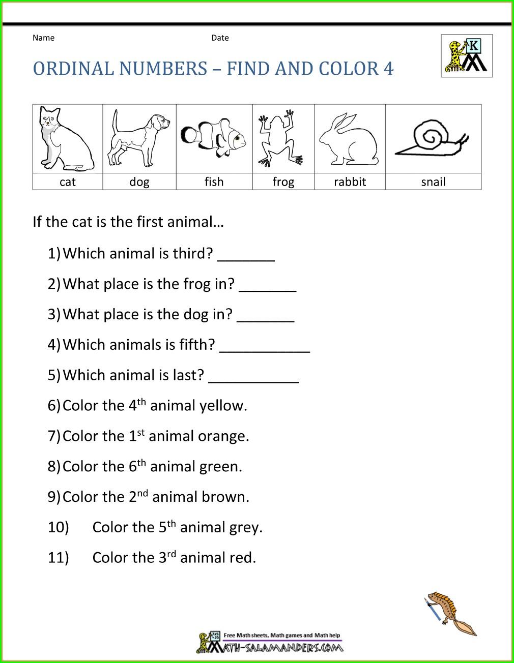 Kindergarten Writing Ordinal Numbers Worksheet