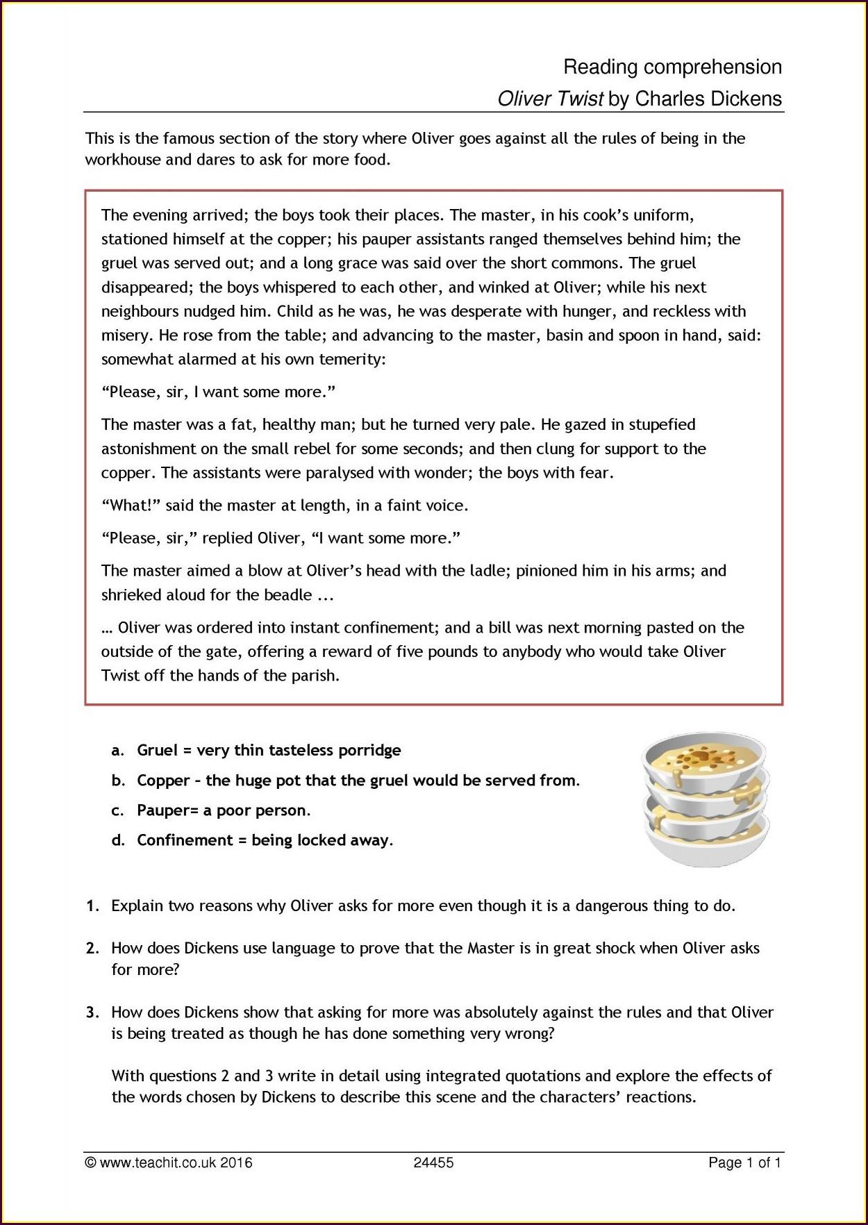 Large Print Reading Comprehension Worksheets