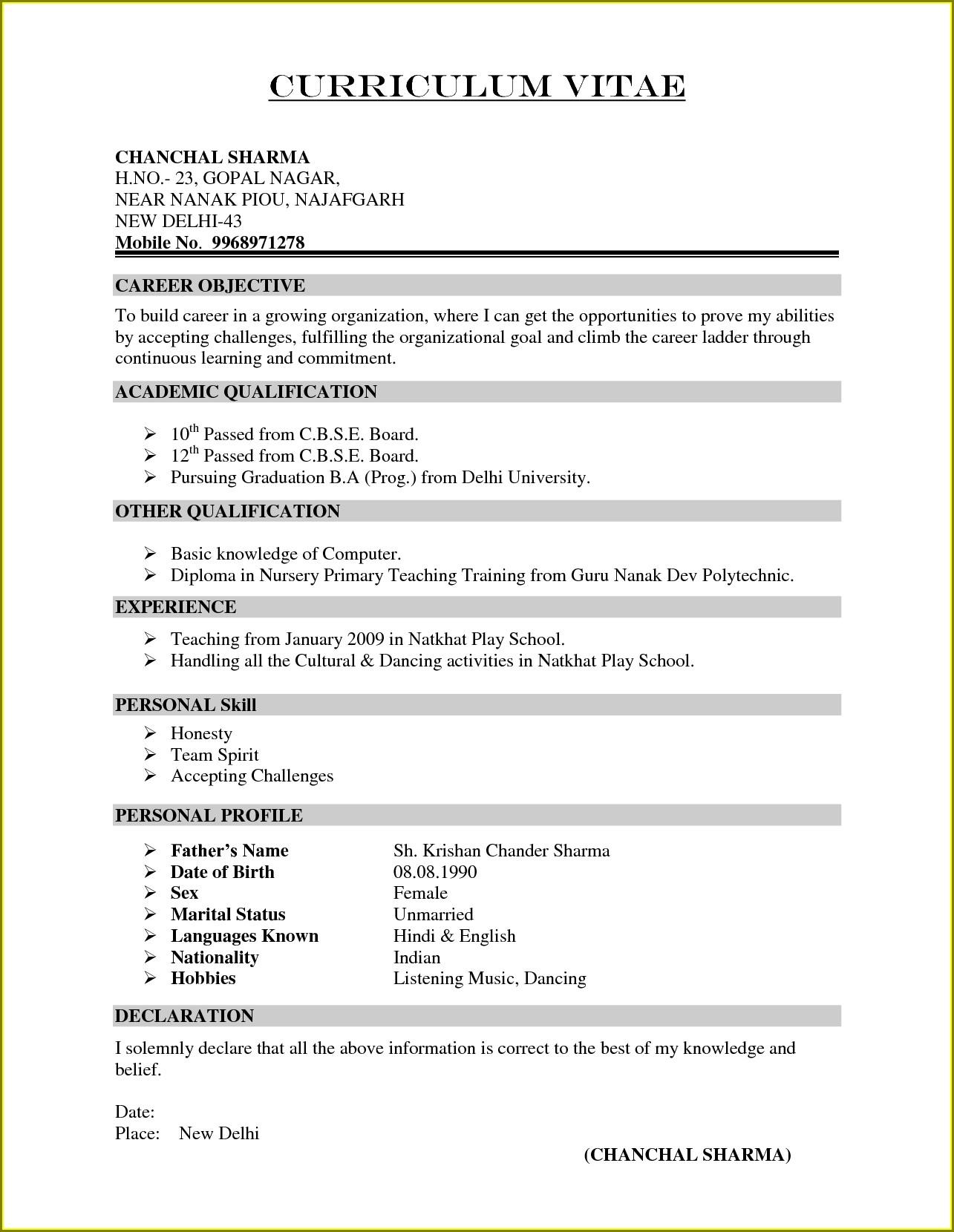 Latest Curriculum Vitae Format Doc