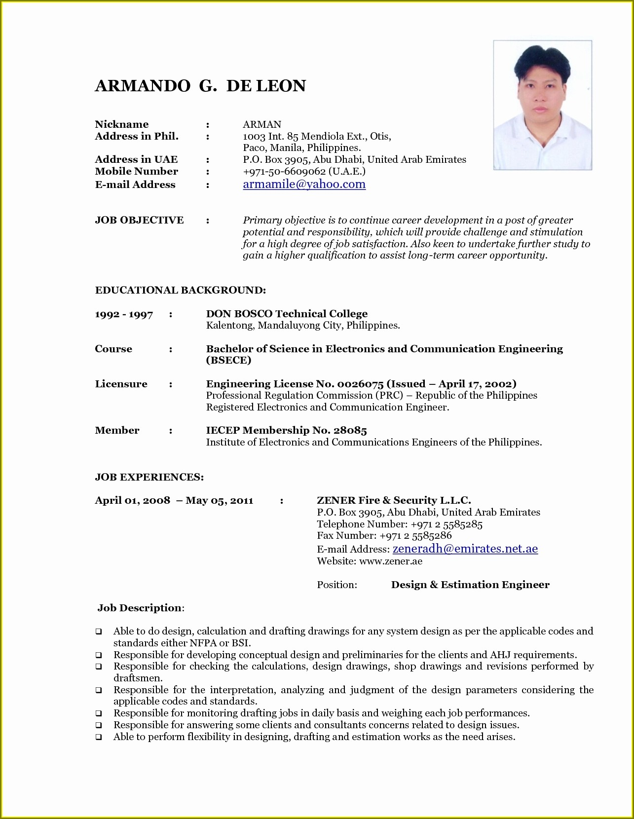 Latest Resume Format Doc Download
