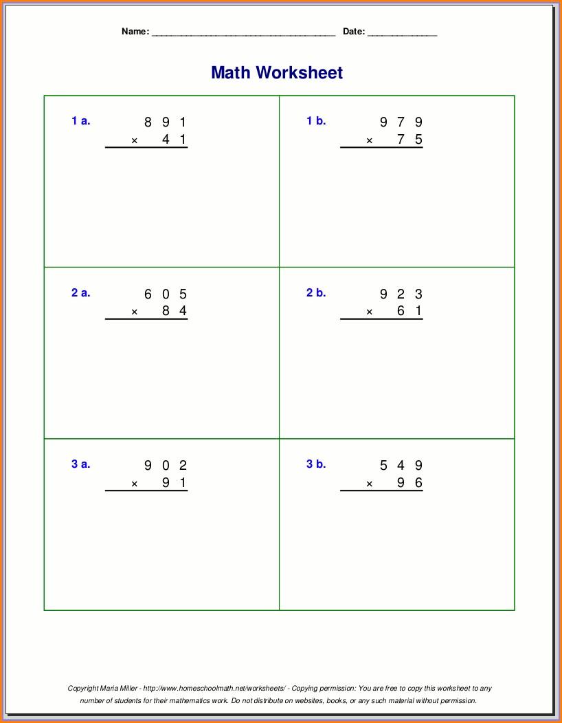Lattice Method Multiplication Worksheet