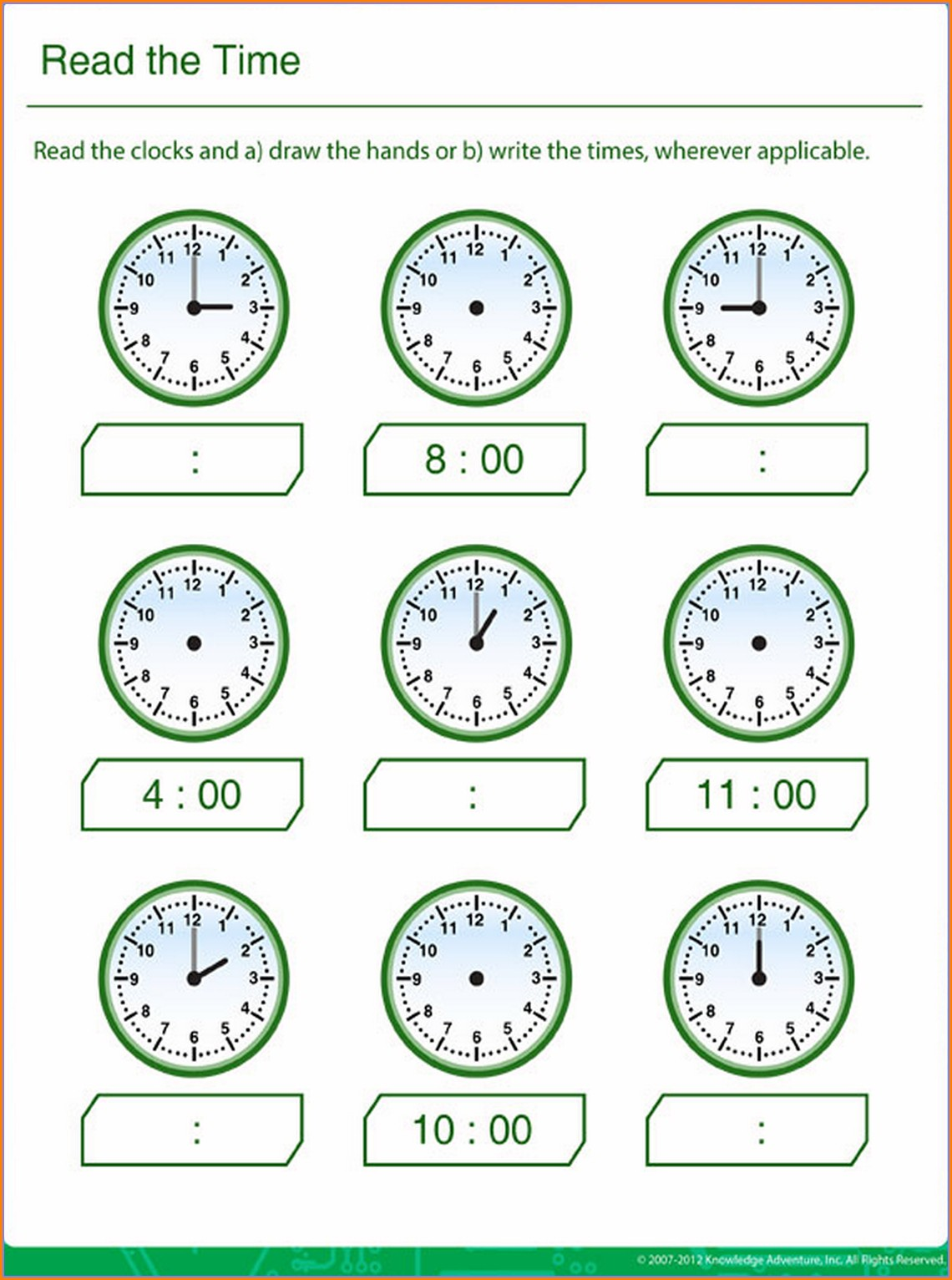 Learning To Read Time Clock Worksheets