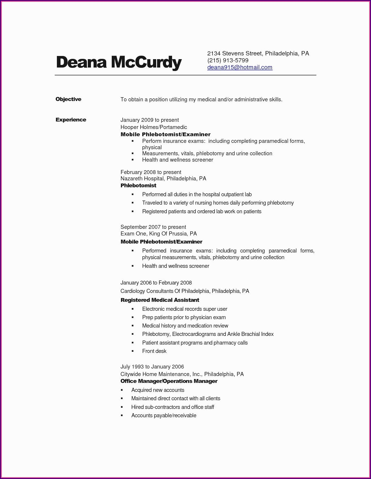 Linear Executive Resume Format Examples
