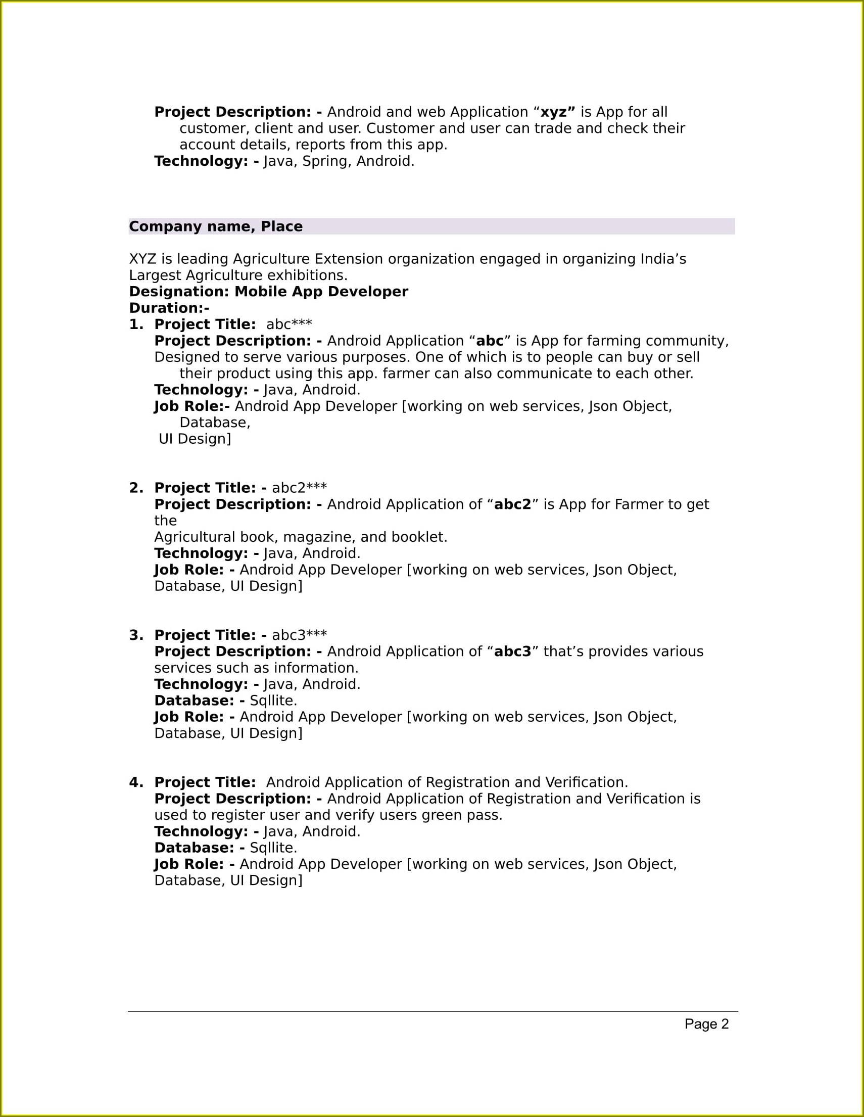 M Tech Resume Sample Free Download