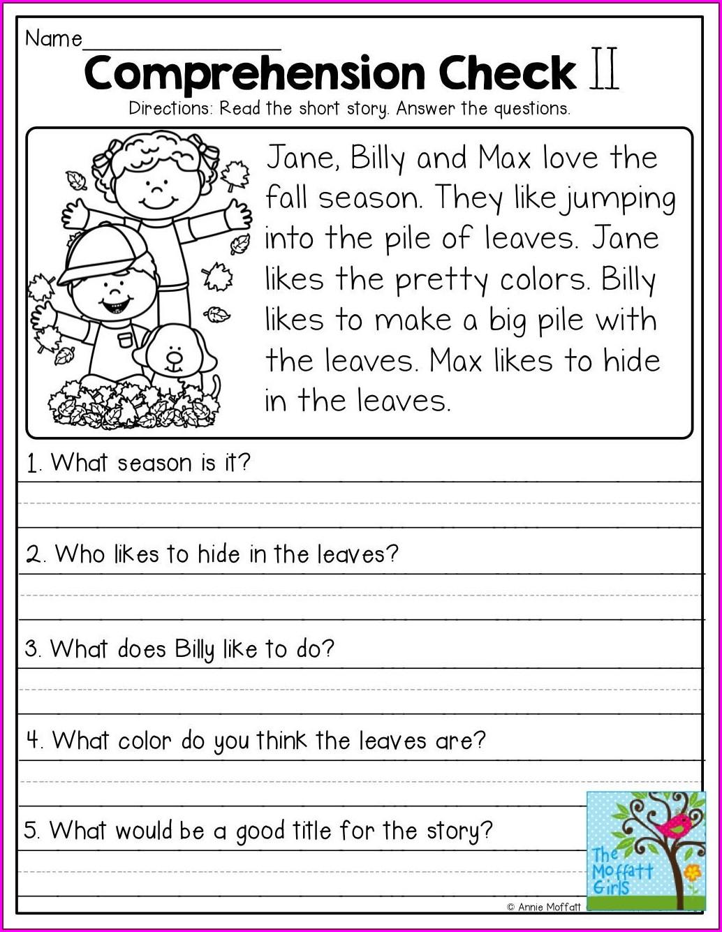 Main Idea Comprehension Worksheets