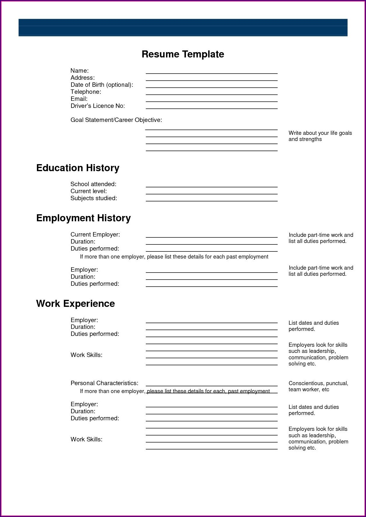Make A Free Printable Resume Online