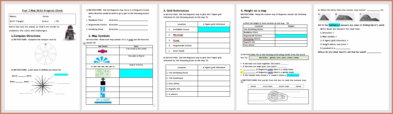 Map Reading Worksheet Ks2