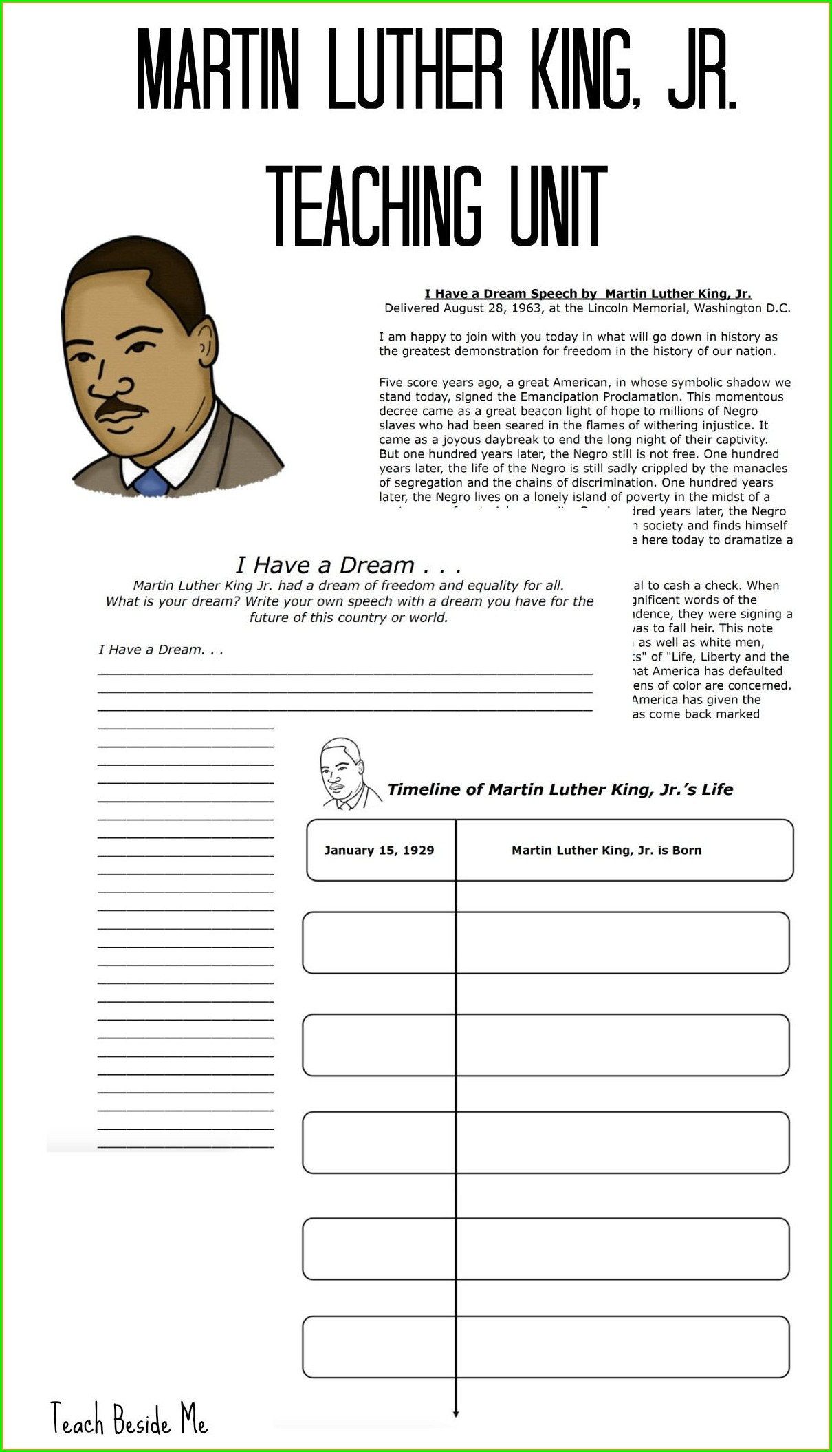 Martin Luther King Jr Math Lesson Plans