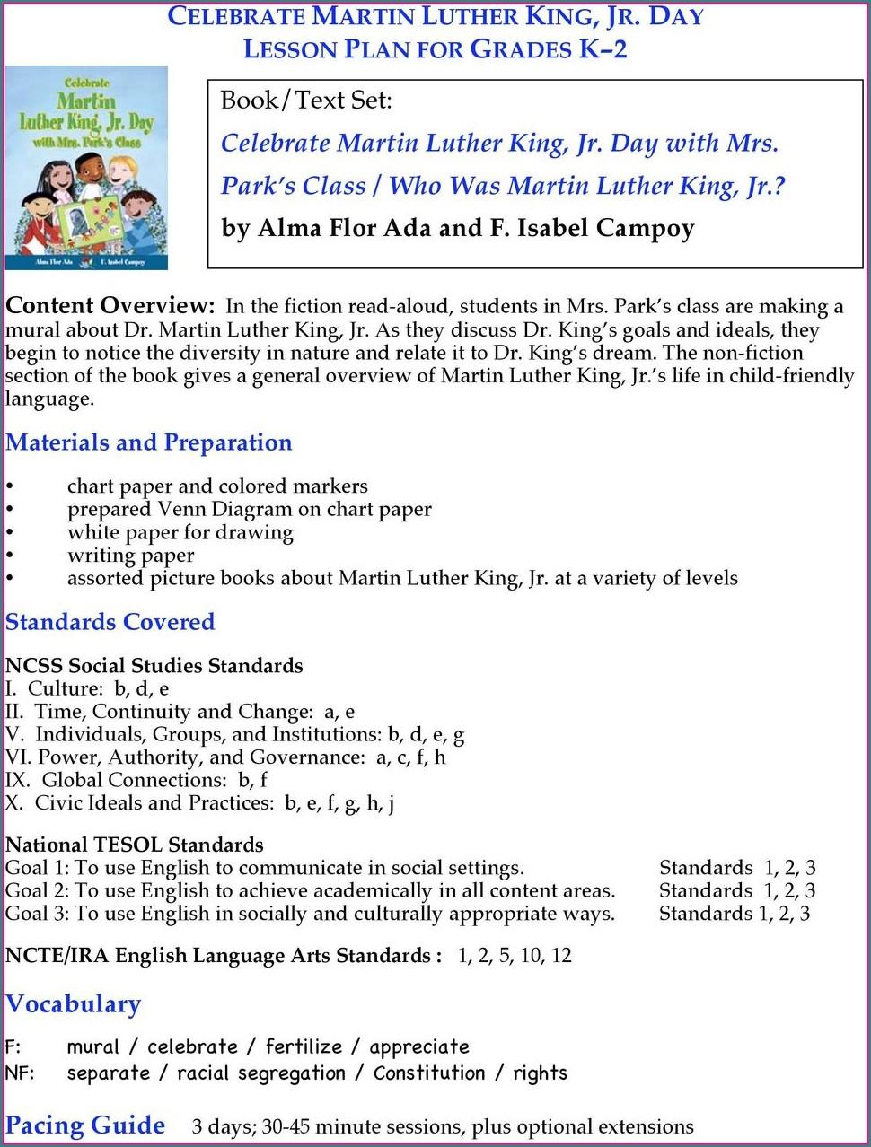 Martin Luther King Jr Speech Lesson Plans