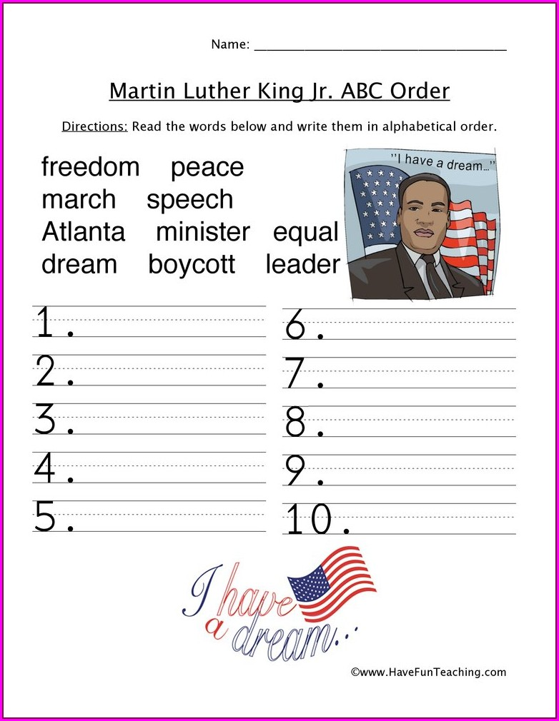 Martin Luther King Jr Worksheets 2nd Grade