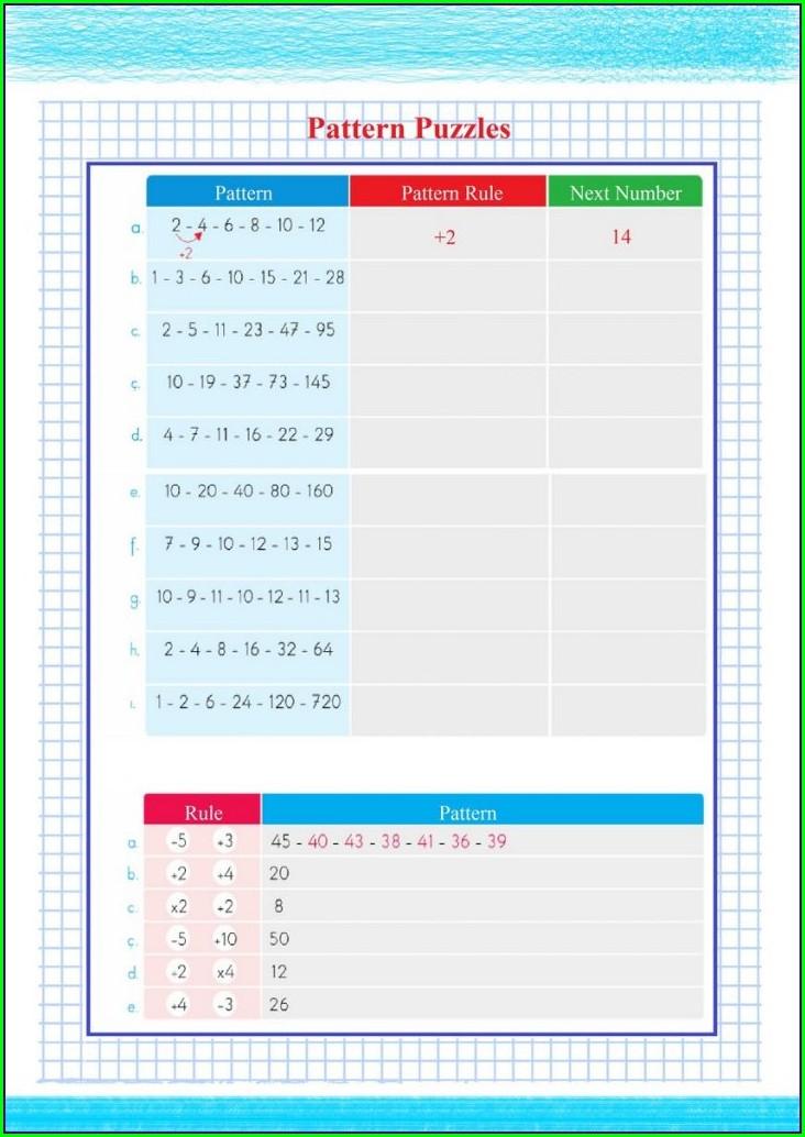 Math Pattern Rule Worksheets