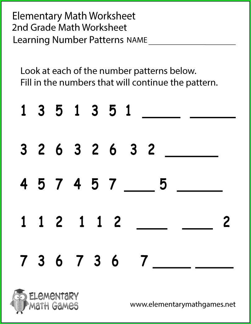 Math Pattern Worksheets For Grade 2