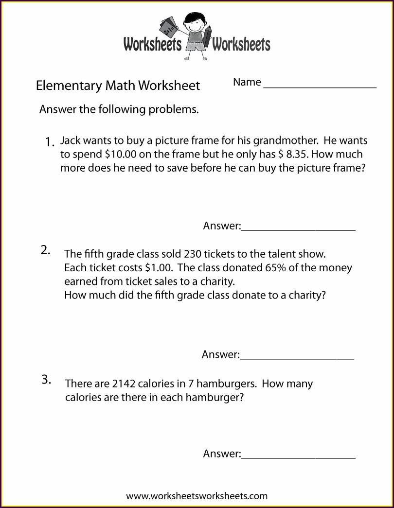 Math Word Problems Worksheet Free