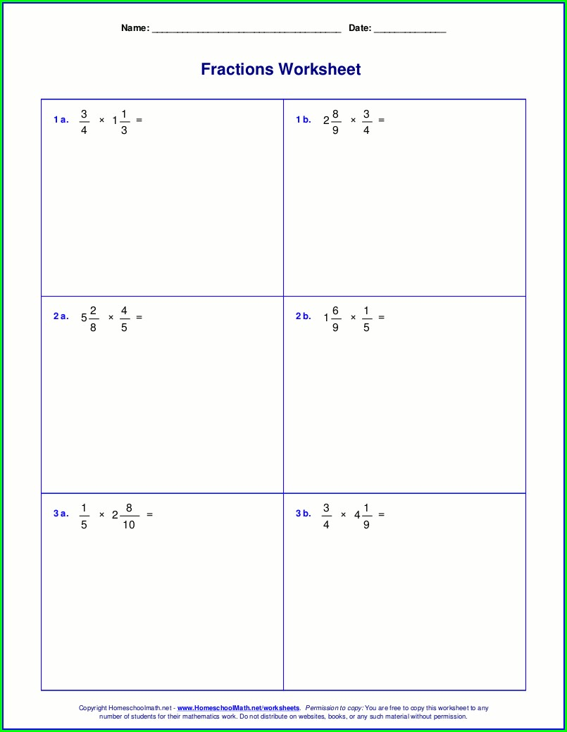 Math Worksheet Dividing Fractions