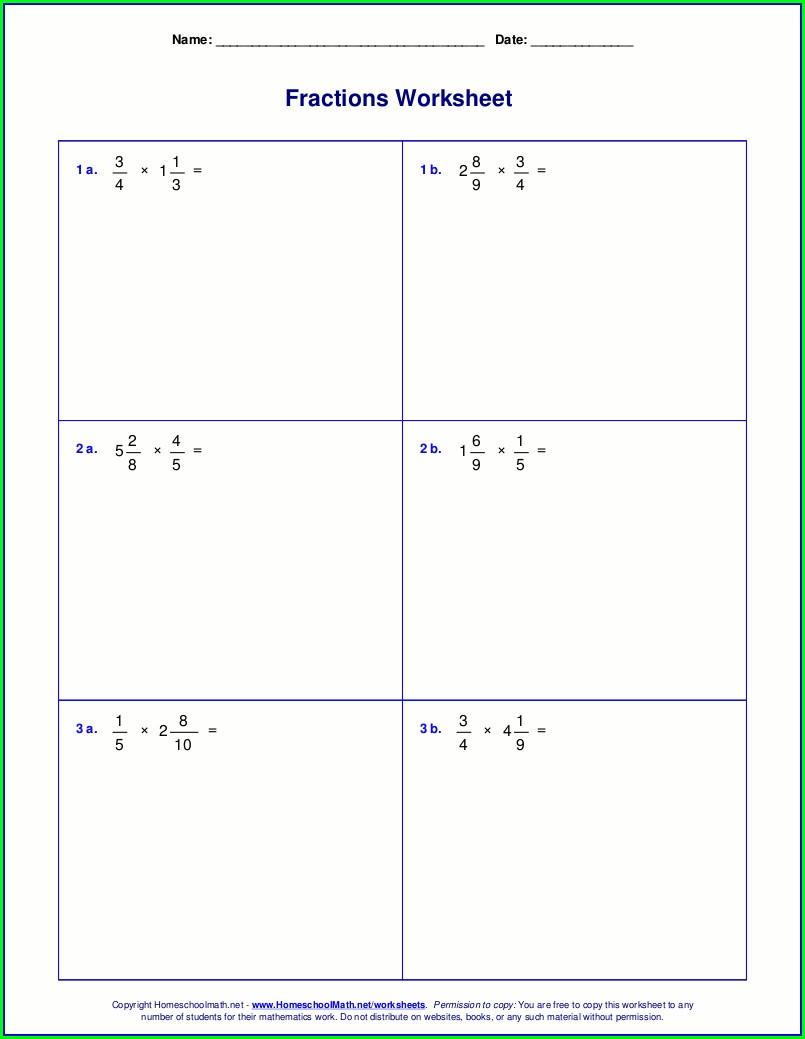 Math Worksheet Dividing Fractions