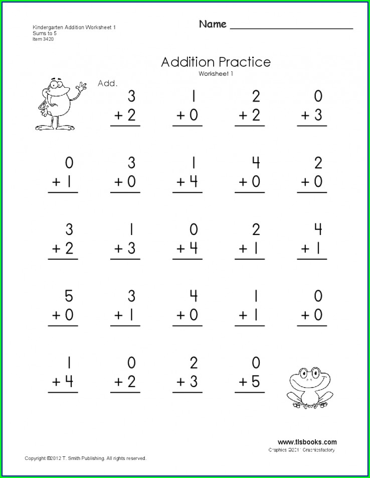 Math Worksheet Kindergarten Addition
