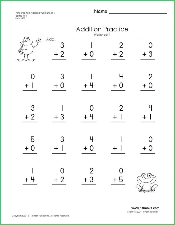 Math Worksheet Kindergarten Addition