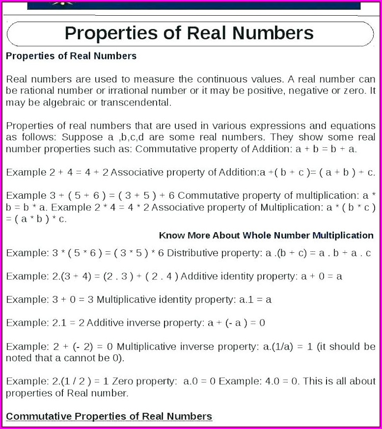 Math Worksheet Properties Of Real Numbers