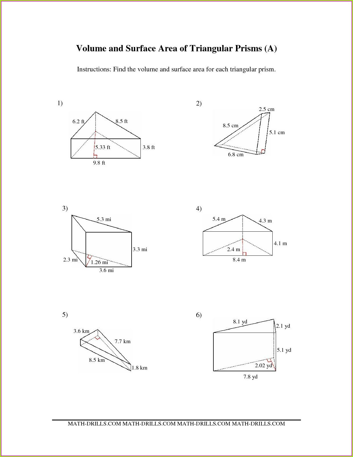 Math Worksheet Surface Area