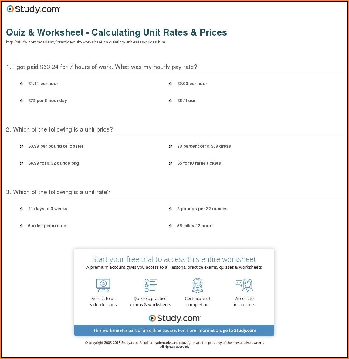 Math Worksheet Unit Rate