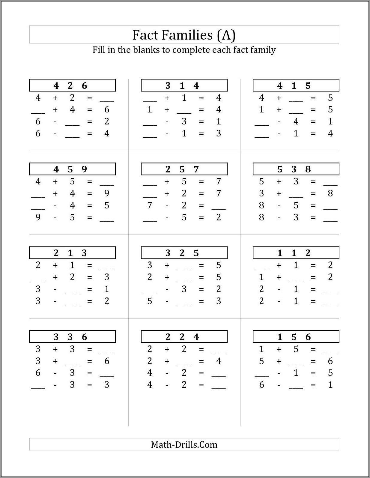 Math Worksheet With Addition And Subtraction