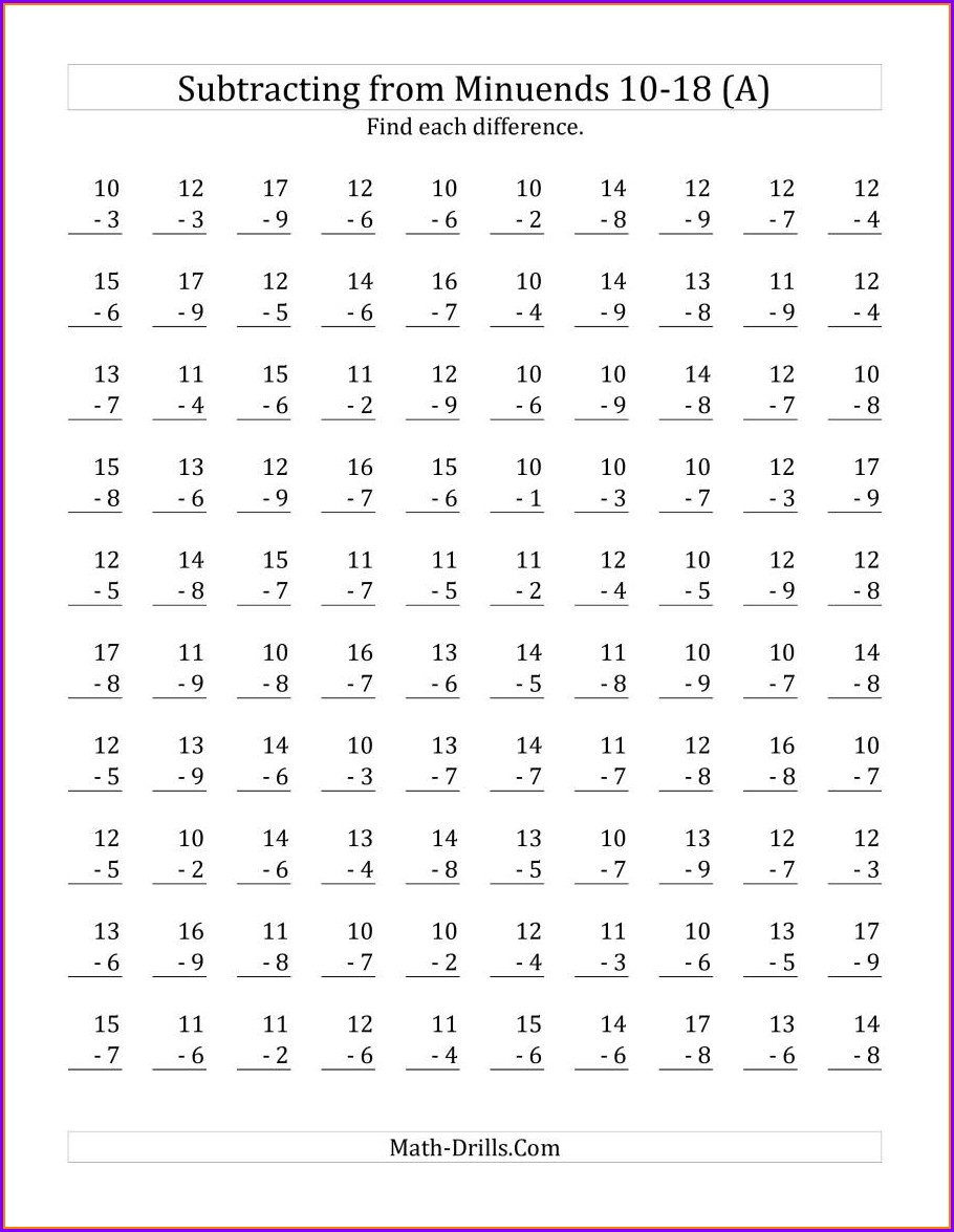 Math Worksheets Addition Up To 18