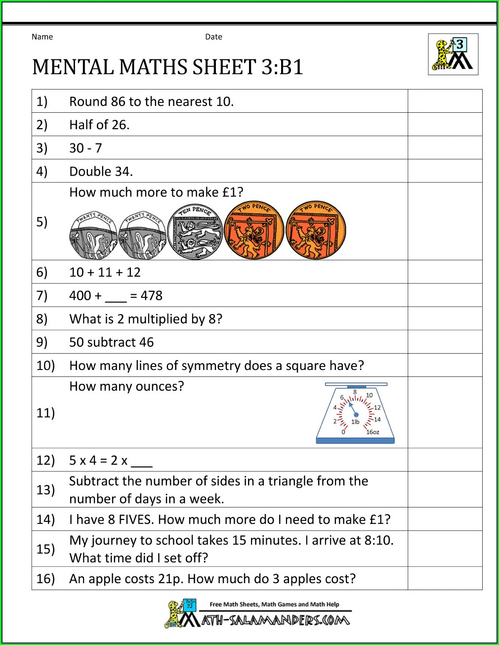 Math Worksheets Grade 3 Word Problems