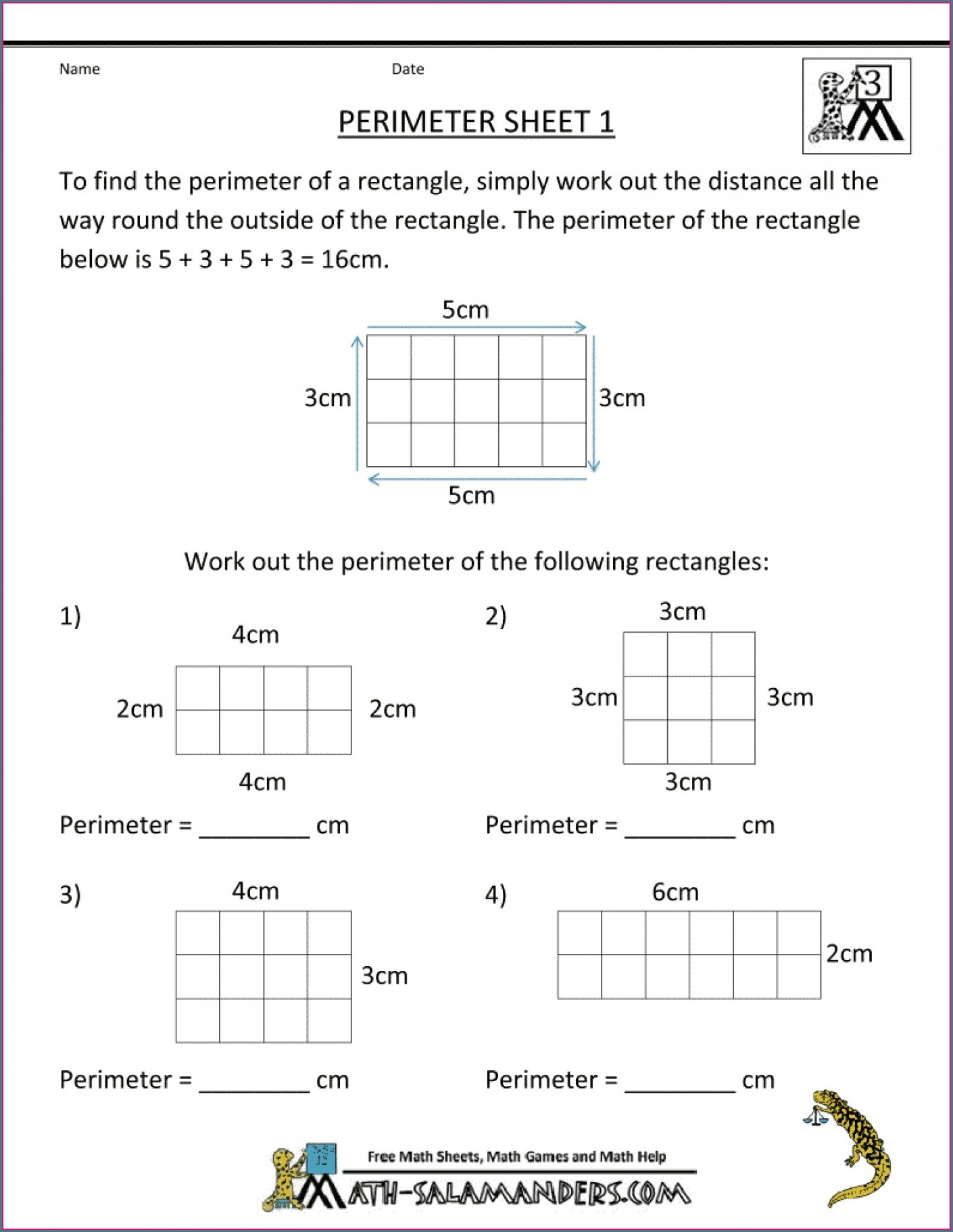 Math Worksheets Grade 7 Area And Perimeter