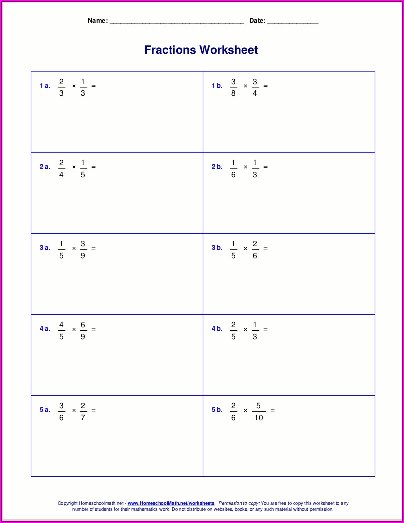 Math Worksheets Multiplication And Division Of Fractions