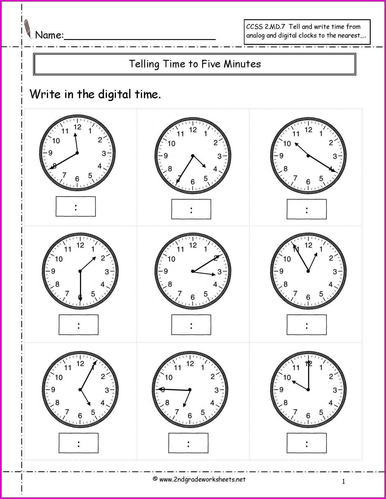 Math Worksheets Time To Five Minutes