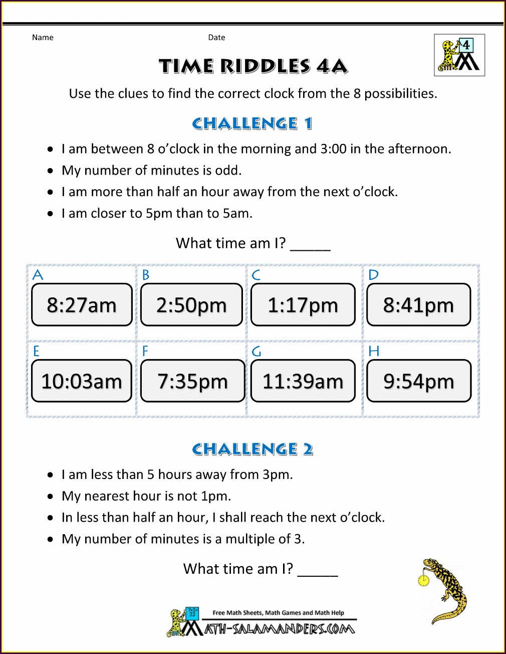 Math Worksheets Units Of Time