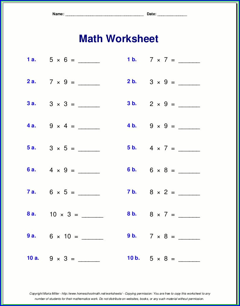 Maths Times Tables Worksheets Pdf