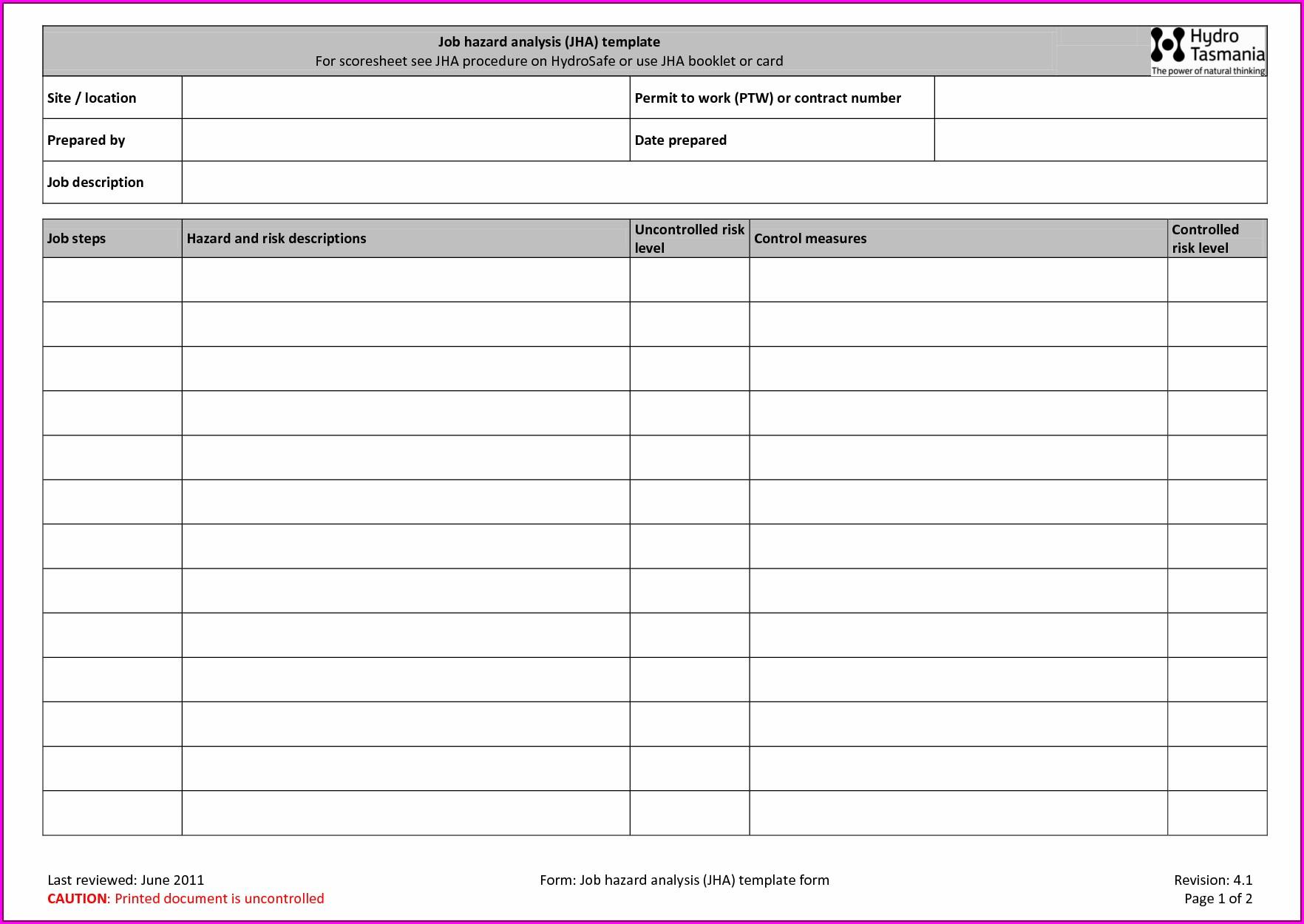 Microsoft Excel Job Sheet Template