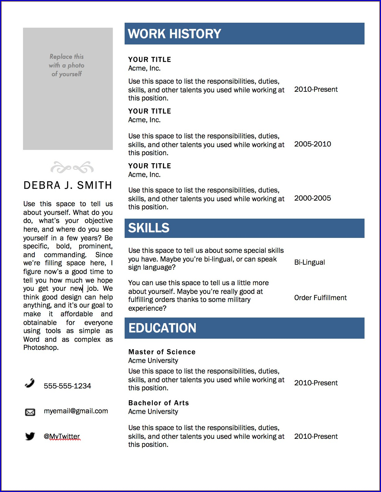 Microsoft Word Resume Templates Free Download