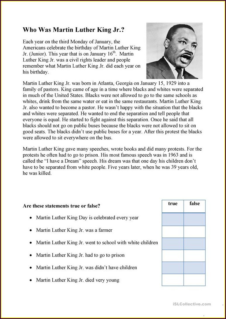 Middle School Martin Luther King Jr Day Worksheets