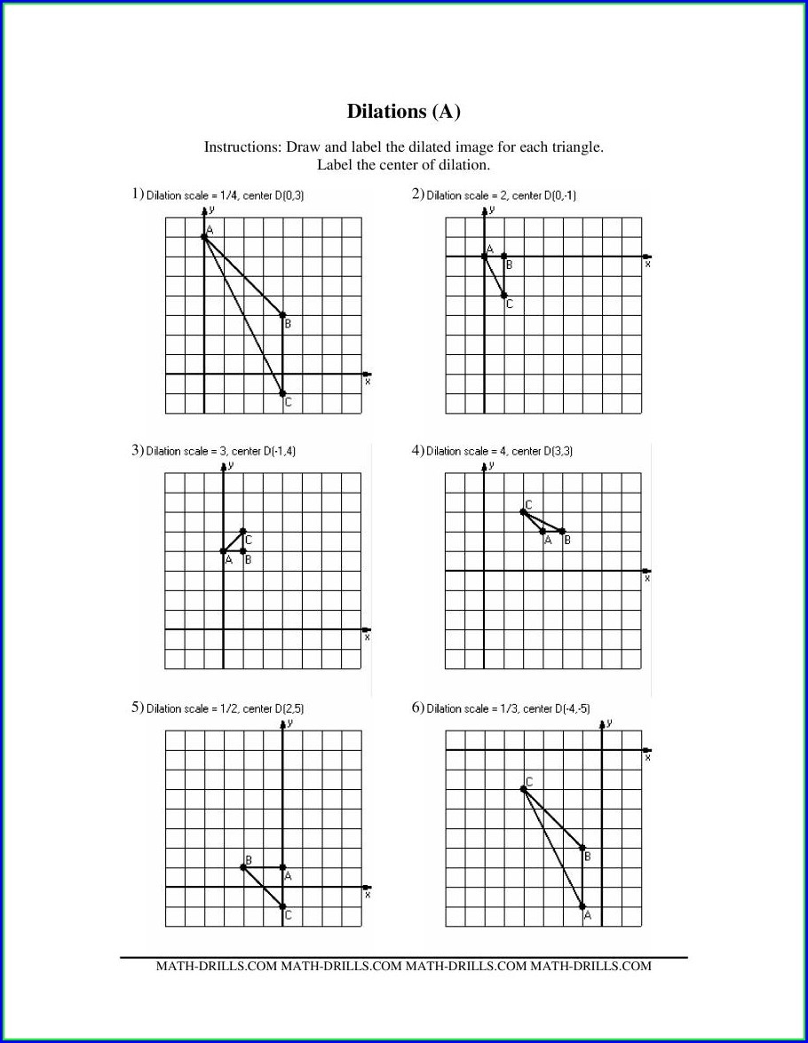 Middle School Math Dilation Worksheet