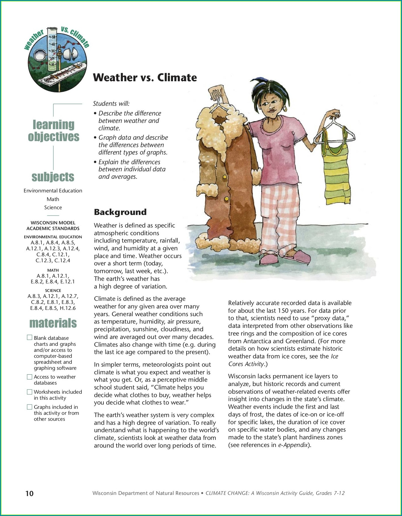Middle School Weather Vs Climate Worksheet